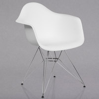 Flash Furniture FH-132-CPP1-WH-GG Alonza White Plastic Chair with Chrome Base