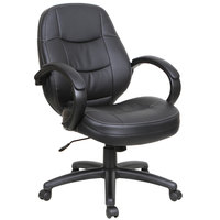 Alera ALEPF4219 PF Series Mid-Back Black Leather Office Chair
