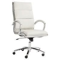 Alera ALENR4106 Neratoli Series High-Back White Faux Leather Swivel / Tilt Office Chair