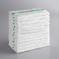 Choice 16 inch x 19 inch Green Striped 32 oz. 100% Cotton Bar Towel - 12/Pack