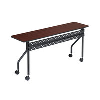 Iceberg 68058 OfficeWorks 18 inch x 60 inch Mahogany Melamine Laminate Mobile Training Table with Black Legs