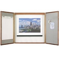 Quartet 853 48 inch x 48 inch Premium Oak Wood Conference Room Cabinet with Whiteboard Interior and Projection Screen
