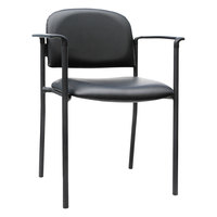 Alera ALEST6716A Sorrento Series Stackable Black Faux Leather Guest Chair with Arms - 2/Case