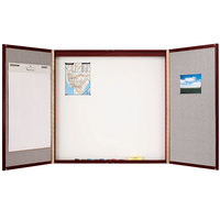 Quartet 878 48 inch x 48 inch Mahogany Laminate Conference Room Cabinet with Whiteboard / Bulletin Board Interior