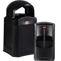 Rubbermaid Landmark Series 35 Gallon Black Wastecan with Dome Top and Windshield Washing Kit