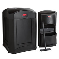 Rubbermaid Landmark Series 35 Gallon Black Wastecan with Funnel Top, Panel Frame / Rigid Plastic Liner and Windshield Washing Kit