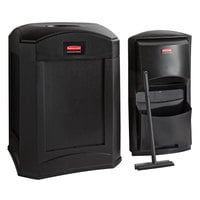 Rubbermaid Landmark Series 35 Gallon Black Wastecan with Funnel Top and Windshield Washing Kit