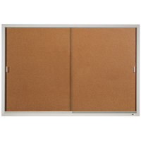 Quartet D2405 Classic 72 inch x 48 inch Enclosed Sliding Natural Cork Bulletin Board with Aluminum Frame