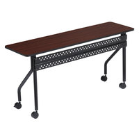 Iceberg 68068 OfficeWorks 18 inch x 72 inch Mahogany Melamine Laminate Mobile Training Table with Black Legs