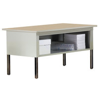 Mayline TB60PG Mailflow-To-Go 60 inch x 30 inch x 36 inch Adjustable Height Pebble Gray Laminate Mailroom System Table with Steel Legs