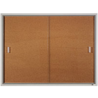 Quartet D2401 Classic 48 inch x 36 inch Enclosed Sliding Natural Cork Bulletin Board with Aluminum Frame