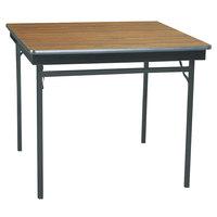 Barricks CL36WA 36 inch x 36 inch Walnut / Black Folding Table