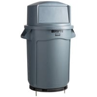 Rubbermaid BRUTE 32 Gallon Gray Trash Can with a Dome Top / Anchor Kit for Concrete