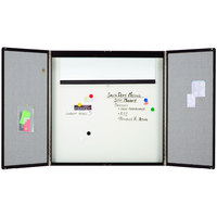Quartet 854 48 inch x 48 inch Premium Black Wood Conference Room Cabinet with Whiteboard Interior and Projection Screen