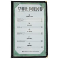 8 1/2 inch x 14 inch Tall Four Pocket Menu Cover - Black