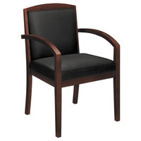 HON HVL853 Topflight Black Leather Guest Arm Chair with Mahogany Wood Frame