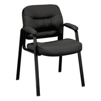 HON VL643SB11 Basyx VL640 Series Black Leather Guest Chair