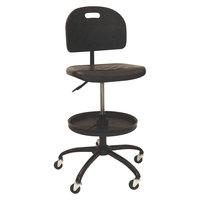 ShopSol 1010301 SSX Black Polyurethane Swivel Shop Chair with Foot Tray
