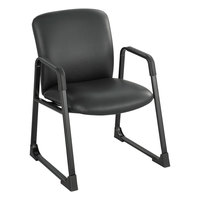 Safco 3492BV Uber Big and Tall Black Vinyl Guest Chair with Sled Base
