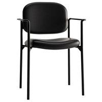HON VL616SB11 Basyx VL616 Series Stackable Black Leather Guest Chair