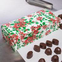 8 7/8 inch x 3 3/4 inch x 2 3/8 inch 1-Piece 2 lb. Poinsettia / Holiday Candy Box   - 250/Case