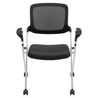 HON VL314SLVR Basyx VL314 Series Nesting Black / Silver Mesh Chair - 2/Case
