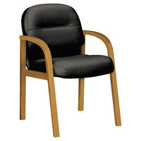 HON 2194CSR11 Pillow-Soft 2190 Series Black Leather Guest Arm Chair with Harvest Wood Frame