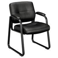 HON VL693SB11 Basyx VL690 Series Black Leather Guest Chair