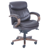 La-Z-Boy 48963B Woodbury Mid-Back Brown Leather Executive Office Chair