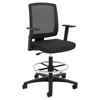 Hon Basyx VL515LH10 Black Mesh Mid-Back Task Stool with Fixed Arms