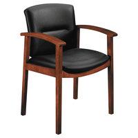 HON 5003COSS11 5000 Series Park Avenue Collection Black Leather / Cognac Wood Guest Chair