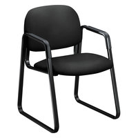 HON 4008CU10T 4000 Series Solutions Seating Black Fabric Guest Chair with Sled Base