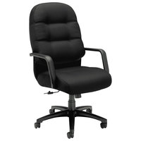 HON 2091CU10T 2090 Series Pillow-Soft High-Back Black Fabric Executive Swivel / Tilt Chair