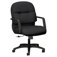 HON 2092CU10T 2090 Series Pillow-Soft Mid-Back Black Fabric Managerial Swivel / Tilt Chair