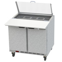 Beverage-Air SPE36HC-10C-CL Elite 36 inch 2 Door Refrigerated Sandwich Prep Table with 17 inch Deep Cutting Board and Clear Lid