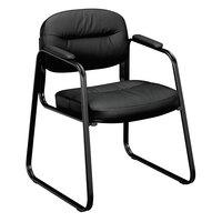 HON VL653SB11 Basyx VL653 Series Black SofThread Leather Guest Side Chair