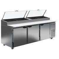 Beverage-Air DP93-CL 93 inch 3 Door Clear Lid Refrigerated Pizza Prep Table