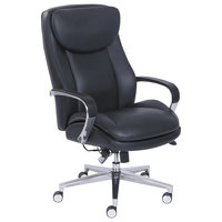 La-Z-Boy 48957 Commercial 2000 High-Back Black Leather Executive Office Chair with Lumbar Support