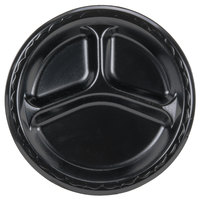 Genpak LAM39-3L Elite 8 7/8 inch Black 3 Compartment Laminated Foam Plate - 500/Case
