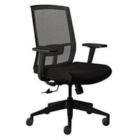 Mayline GS22SVRBLK Gist Black Fabric Task Chair with Mesh Back