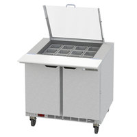 Beverage-Air SPE36HC-12M-CL Elite 36 inch 2 Door Mega Top Refrigerated Sandwich Prep Table