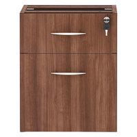 Alera ALEVA552222WA Valencia Modern Walnut Two-Drawer Full Pedestal - 15 5/8 inch x 20 1/2 inch x 19 1/4 inch