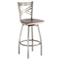 Lancaster Table & Seating Cross Back Bar Height Clear Coat Swivel Chair with Mahogany Wood Seat