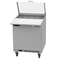 Beverage-Air SPE27HC-C-B-CL Elite 27 inch 1 Door Refrigerated Sandwich Prep Table with 17 inch Deep Cutting Board and Clear Lid