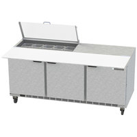 Beverage-Air SPE72HC-10C-CL Elite 72 inch 3 Door Refrigerated Sandwich Prep Table with 17 inch Deep Cutting Board and Clear Lid