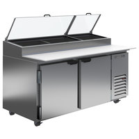 Beverage-Air DP67-CL 67 inch 2 Door Clear Lid Refrigerated Pizza Prep Table