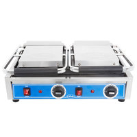 Globe GSGDUE10 Bistro Series Double Sandwich Grill with Smooth Plates - 20 inch x 10 inch Cooking Surface - 208/240V, 3200W