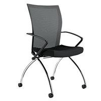Mayline TSH1BB Valore Training Series High-Back Nesting Black Mesh / Fabric Chair - 2/Case