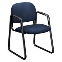HON 4008CU98T 4000 Series Solutions Seating Navy Fabric Guest Chair with Sled Base