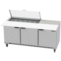 Beverage-Air SPE72HC-12C-CL Elite 72 inch 3 Door Refrigerated Sandwich Prep Table with 17 inch Deep Cutting Board and Clear Lid